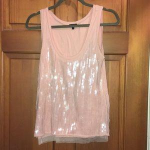 Light pink sequined shortsleeved top